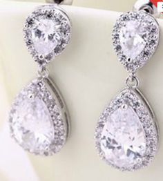 """PAIR Small Dangle Crystal Vintage Silver Wedding Prom gauges plugs tunnels earrings ONLY 2g 0g 00g 7/16"""" 1/2"""" 6mm 8mm 10mm 11mm 12mm"""