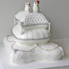 The cake that ate Paris Elegant Wedding Cakes, Elegant Cakes, Wedding Cake Designs, Wedding Ideas, Wedding Stuff, Pillow Wedding Cakes, Pillow Cakes, Pillows, Dragon Wedding