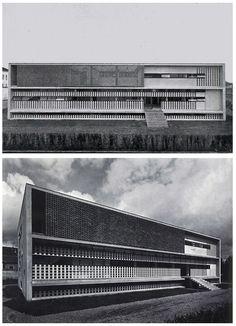 Tuberculosis Clinic, Alessandria, Italy by Ignazio Gardella Concrete Architecture, Modern Architecture Design, Arch Architecture, Bauhaus, Fascist Architecture, House Outside Design, Interesting Buildings, Milan, Art Deco