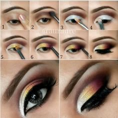 lid only:  shimmery white to yellow to orange to brown | brow bone:  dark brown - blend everything