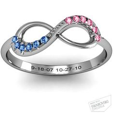 Infinity Accent Ring with kids' birthstones and birth dates engraved. WANT.