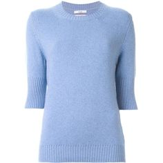Barrie Three-Quarter Sleeve Sweater (25.795 RUB) ❤ liked on Polyvore featuring tops, sweaters, blue, 3/4 sleeve tops, three quarter sleeve tops, three quarter sleeve sweaters, three quarter length sleeve tops and cashmere sweater
