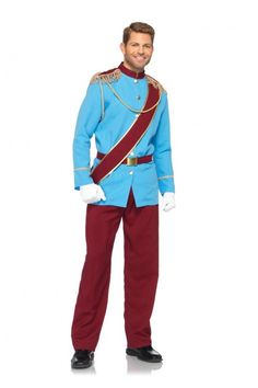 4 PC Blue Burgundy Prince Charming Licensed Disney Costume