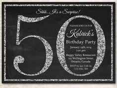 50th birthday invitation. Silver Glitter Birthday by arthomer