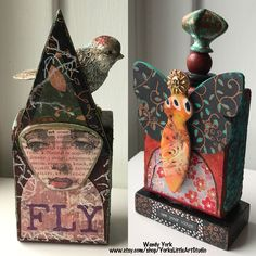 Two Artist Trading Blocks are complete and in the shop. I saw the bird at an estate sale. My husband and I love to treasure hunt. I went home without the bag of birds but shortly after decided to go back and get them knowing I could use them in my art. A vision realized feels good! #mixedmedia #artisttradingblock #yorkslittleartstudio #etsyseller #etsy #treasurehunt #etsy #assemblageart #birdart #butterflyart #mixedmediaart
