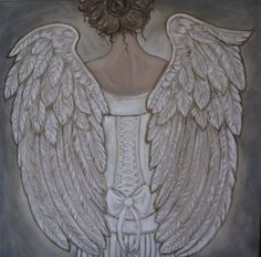 Her Morning Elegance  Angel Painting Large 30 x 30 #angel #wings #art $1200.00