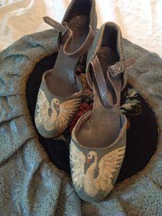 AntiqueArt Deco Swan Petit Point Shoes by PetitPointsInteriors