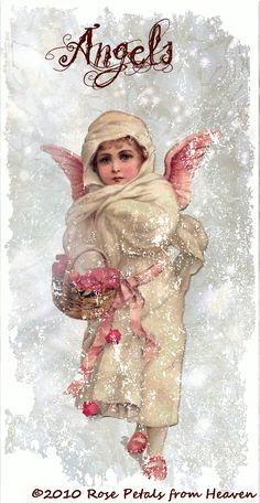 rose petals from heaven. Victorian Angels, Victorian Christmas, Vintage Christmas Cards, Pink Christmas, Christmas Angels, Vintage Cards, Vintage Postcards, Vintage Images, Christmas Time