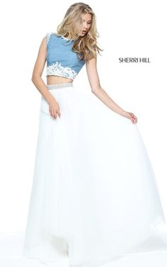 Blue Ivory Sherri Hill 51197 Two Piece Beaded Long Prom Dress