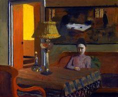 Félix Vallotton / Woman in a Purple Dress next to a Lamp