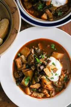 Hungarian Mushroom and Potato Soup with Smoked Paprika
