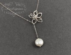 Flower Pearl Necklace  Sterling Silver by ACharmedImpression, $32.00