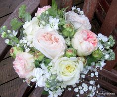 https://flic.kr/p/g2pA6Z | Pink and cream bridal flowers with garden roses | Wedding bouquet for a wedding at Hever Castle by The Flowersmiths, wedding florist in Kent