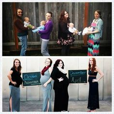 "[FAN PHOTO!] Thanks for a great photo, Maggie. Fantastic that not only are you all family, but best friends too!  ""These are the ""before and after"" pictures of me, my sister, and my two sister in laws. We all got pregnant at the same time! It was an awesome experience getting to be pregnant with my 3 best friends.  *** WANT TO GET FEATURED? Send your personal photo to info@bellybelly.com.au with the subject ""Fan Photo"". Don't forget to include any details of the photo!"