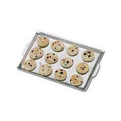 12 Chocolate Chip Cookies on Tin Baking Sheet