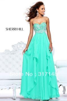 New Fashion Elegant Empire Evening Gown Beaded Chiffon Mint Prom Dresses Long FN224 US $138.99