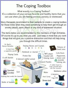 What i tend to keep around me at home anyhow. Coping Toolbox Infographic for Anxiety / Stress , etc. Counseling Activities, Therapy Activities, Grief Counseling, Therapy Worksheets, Therapy Tools, Art Therapy, Play Therapy, Speech Therapy, Behavior Management