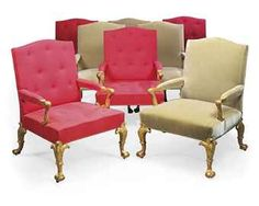A SET OF EIGHT GEORGE II GILTWOOD ARMCHAIRS
