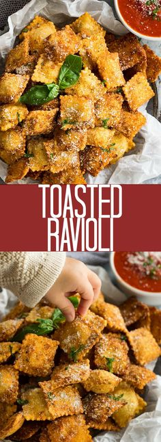 This Toasted Ravioli is a super simple and easy to make appetizer. Plus it makes a large batch perfect for feeding a crowd! This Toasted Ravioli is a super simple and easy to make appetizer. Plus it makes a large batch perfect for feeding a crowd! Heavy Appetizers, Easy To Make Appetizers, Appetizers For A Crowd, Finger Food Appetizers, Food For A Crowd, Appetizers For Party, Appetizer Recipes, Italian Appetizers Easy, Easy Finger Food