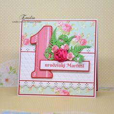 Kartka na roczek dla dziewczynki/Birthday card