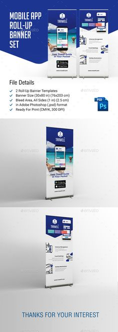 Mobile App Roll-Up Banner Templates PSD