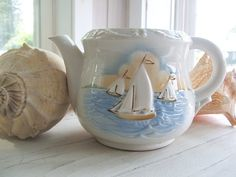 Vintage Shabby Nautical Teapot Planter or by lookonmytreasures