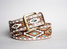 vintage 70s navajo tooled and painted leather thunderbird belt