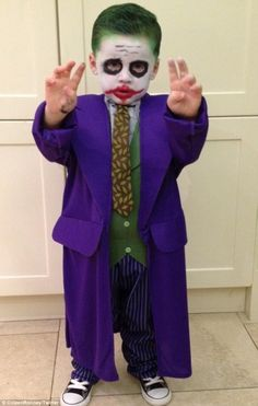 kai rooney leads the way as the joker as host of stars get spooky for halloween - Joker Halloween Costume Kids