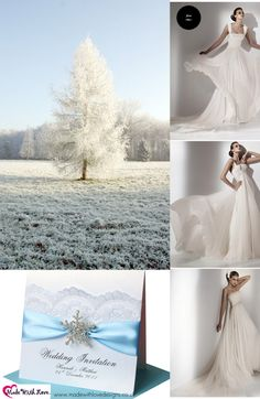 Icy blues Christmas Wedding Invitations & floaty wedding dresses