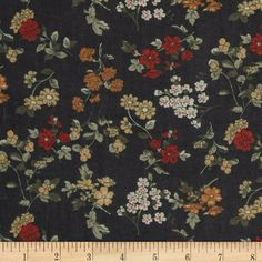Maribel Voile Flowers Black/Red/Gold from fabric.com