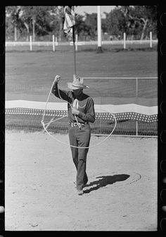 Trick roper at rodeo, Miles City, Montana