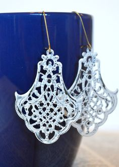 White Earrings, Antique Earrings, Fancy Filigree Earrings, Boho Earrings, Statement Earrings, Bohemian Earrings, Bridal Earrings