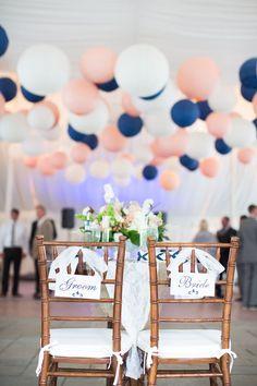 Bride & Groom chairs + paper lanterns / http://www.himisspuff.com/100-charming-paper-lantern-wedding-ideas/