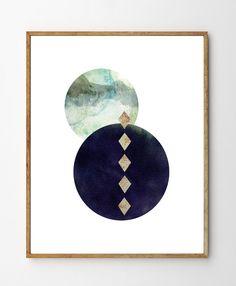 Enigma - Geometric Art, Minimalist Poster, Scandinavian Design, Surreal Art, Mixed Media Painting, Watercolor Painting, Wall Art by StellaireStudio on Etsy https://www.etsy.com/ca/listing/222359059/enigma-geometric-art-minimalist-poster