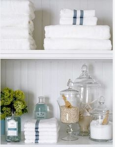 Great way to organize towels, wash cloths, bath salts, and other necessities.