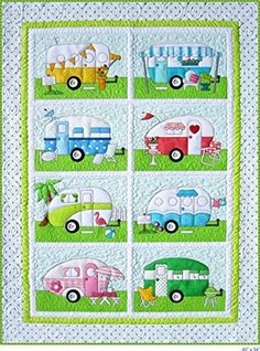 Campers quilt pattern includes full size patterns, placement sheets, and instructions to make three versions: 40 x 54 Camper Trailer Quilt 18 x 18 Welcome Wall hanging, Custom Size Camping Family Wallhanging Choose From Ten Different Family Mem Colchas Quilting, Quilting Projects, Quilting Designs, Sewing Projects, Quilt Baby, Applique Quilts, Quilt Making, Quilt Blocks, Origami