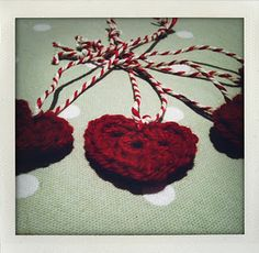 DiY'ed Crocheted Hearts for Christmas Decorations