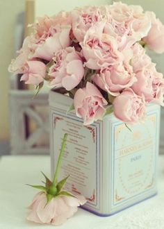 Pink Roses in a tin can.