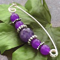 With amethyst beads and silver tone wire