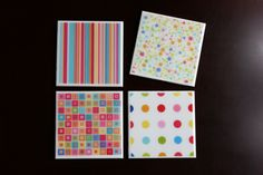 Multi-Color Bright Rainbow Tile Coasters - pinned by pin4etsy.com