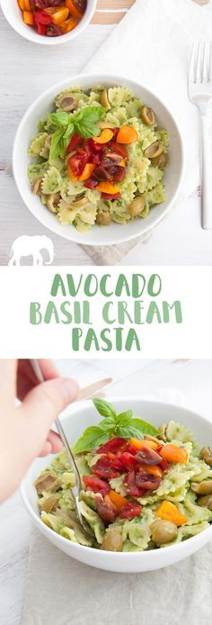 Avocado Basil Cream Pasta (Vegan) via @elephantasticv