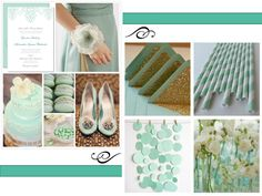 mint envelopes with glitter!!! glitzy!