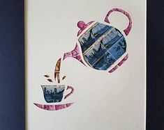 Postage Stamp Collage - Cuppa Tea (pink) for 11x14 frame