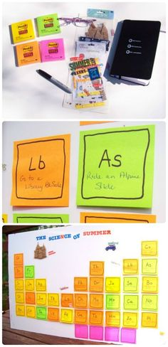 Creative way to display your summer fun list or bucket list!  Add items to sticky notes and arrange like the periodic table - see the DIY details and get your 2020 list started now! Summer Activities For Kids, Fun Activities For Kids, Holiday Activities, Family Activities, Summer Fun List, Summer Bucket Lists, Summer 2015, Summer Crafts For Kids, Summer Kids