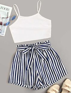 Cute Girl Outfits, Teenage Outfits, Cute Summer Outfits, Cute Casual Outfits, Outfits For Teens, Casual Shorts, Summer Shorts, Fashionable Outfits, Matching Outfits