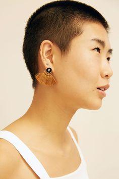 Ora-C Ode Mini Fringe Earrings in Black / Camel