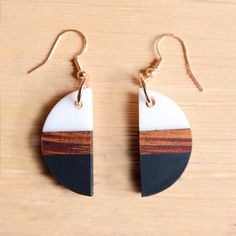 AUTUMN Hand painted Wooden Earrings  Lightweight Girl with Beret Wood Rockabilly