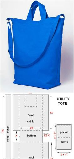 Even if you're a beginner sewer, you can make a DIY tote bag that looks professionally made in a short time. Check out these 60 DIY tote bags ideas you can create right at home Sewing Patterns Free, Sewing Tutorials, Sewing Projects, Easy Patterns, Pattern Sewing, Purse Patterns, Clothes Patterns, Sewing Crafts, Tote Bag Tutorials