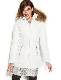 Celebrity Pink Faux-Fur-Trim Hooded Puffer Jacket on shopstyle.com