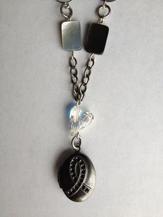 Awareness Ribbon Locket Necklace. Lung Cancer. by SugarDoveJewelry, $35.00